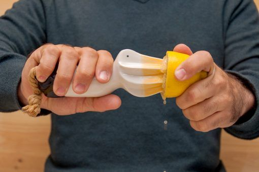 Expri is a pelican-shaped porcelain hand squeezer