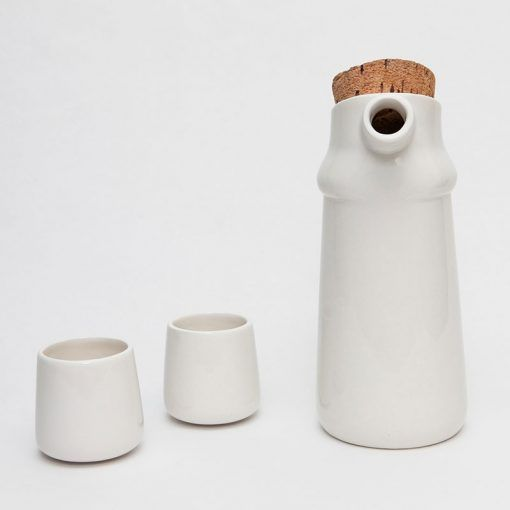 Flux natural cork and ceramic jug with two cups