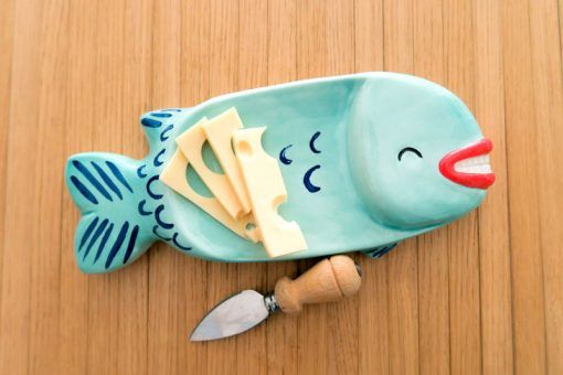 Ceramic tray or decoration fish that is always happy to see you.